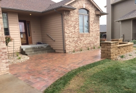 front yard decorative walk with courtyard walls