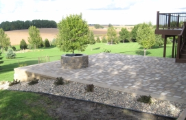 raised patio on a hill